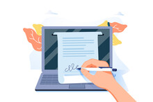 Man Putting Esignature Into Legal Document. Digital Signature Concept. Businessman Signing An Agreement Or Contract.