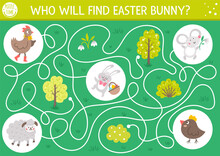 Easter Maze For Children. Holiday Preschool Printable Educational Activity. Funny Spring Garden Game Or Puzzle With Cute Animals. Who Will Find Easter Bunny? .