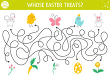 Easter Maze For Children With Cute Animals And Presents. Holiday Preschool Printable Educational Activity With Chicken, Mouse, Bunny, Bird. Funny Spring Game Or Puzzle With Cute Characters. .