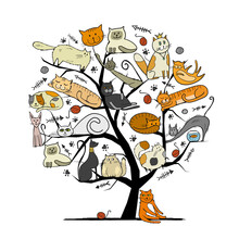 World Cats Day. Art Tree With Funny Cats For Your Design