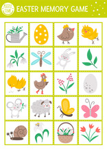Vector Easter Memory Game Cards With Traditional Holiday Symbols. Matching Activity With Cute Characters. Remember And Find Correct Card. Simple Spring Printable Worksheet For Kids. .