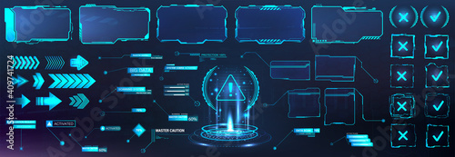 Obraz Futuristic frame border in HUD style for GUI, UI, UX and Web design. Callouts, arrows, labels, information call box bars, arrows and frame screen. Futuristic User Interface layout template. HUD set - fototapety do salonu