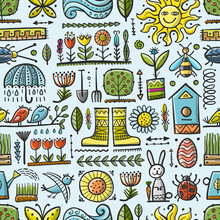 Spring And Gardening Background. Seamless Pattern For Your Design