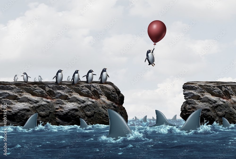 Fototapeta Concept of business solutions from risk of challenging market conditions as a success and innovative thinking metaphor to overcome fear and succeed