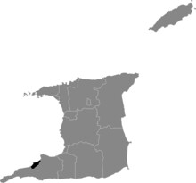 Black Location Map Of Trinbagonian Point Fortin Municipality Inside Gray Map Of Trinidad And Tobago
