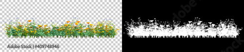 Fototapeta Background illustration of green field of grass with flowers. 3D rendering. Useful for commercial banners and print - Illustration obraz