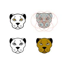 Modern, Minimalistic Leopard, Head Logo Design In Circle Grid Style