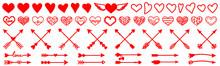 Red Arrow, Heart Vector. Red Arrow, Heart Icon. Red Arrow, Heart Sign.