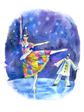 Ballet Dancers Columbine And Pierrot On Stage, Watercolor Illustration, Poster Print, Paintings, Book Illustration And Other Designs.