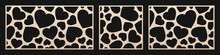 Laser Cut Pattern With Hearts. Vector Template With Big Heart Shapes. Valentine's Day Design. Decorative Panel For Laser Cutting Of Wood, Metal, Paper, Plastic, Engraving. Aspect Ratio 1:1, 1:2, 3:2