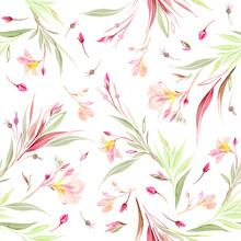Acuarela. Diseño Floral Pintado A Mano. Patrón Para Estampado Textil, Papelería, Decoración Del Hogar.
