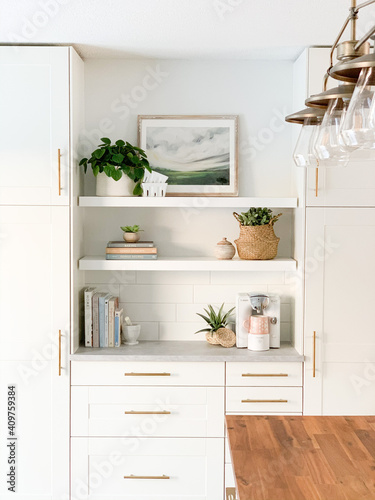 Canvas Print modern kitchen interior with kitchen and open shelves