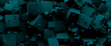 Blue 3d Cubes Background, Panoramic Image