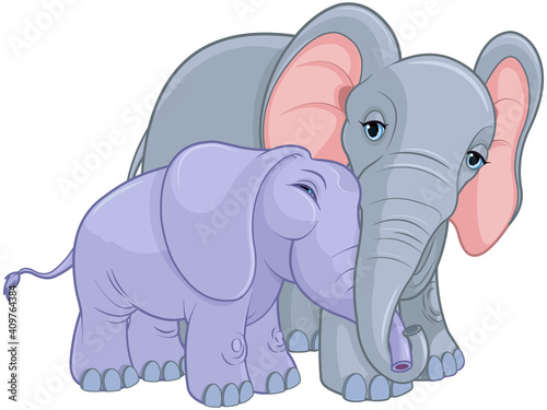 Mother and Baby Elephant #409764384