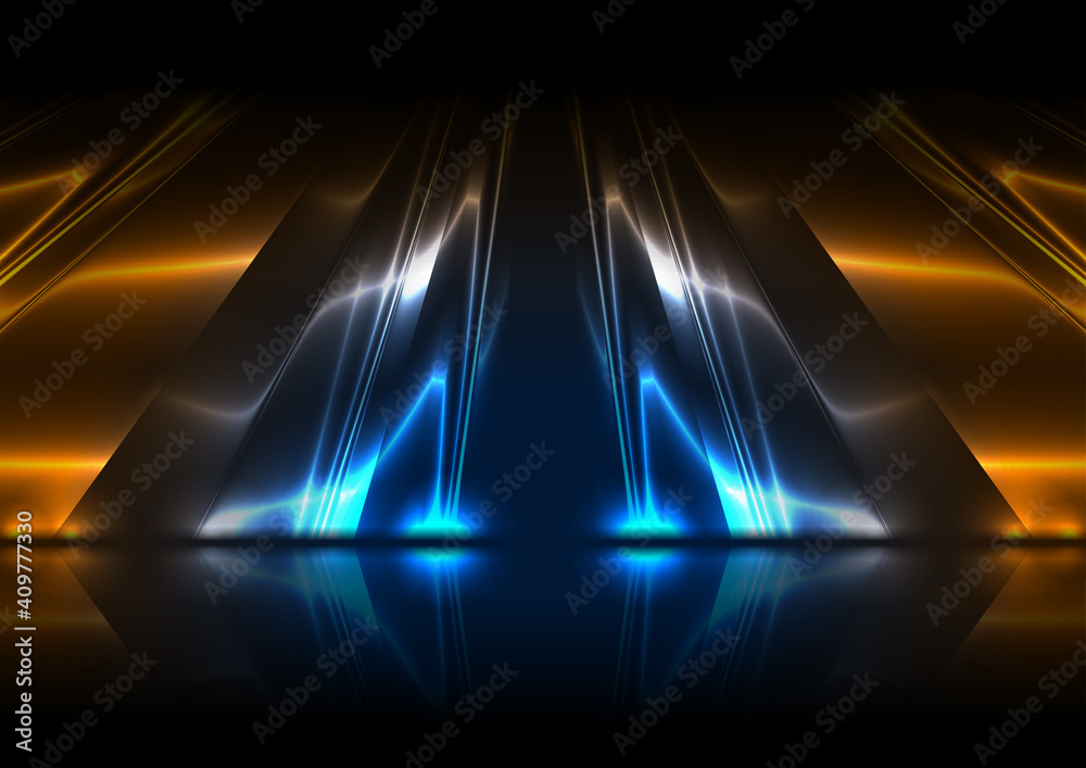 Fototapeta Blue and orange neon glossy stripes abstract tech background with reflection. Vector modern design