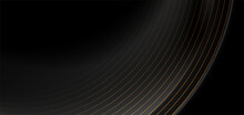 Black Abstract Tech Luxury Background With Golden Lines. Vector Illustration