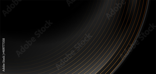 Fototapeta Black abstract tech luxury background with golden lines. Vector illustration obraz