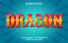 Editable Text Effect - Red Orange Dragon Gradient Color Modern Style