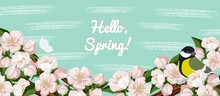 Spring Season Flower Background. Cherry Sakura Blossom Vector Poster