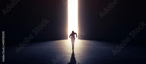 Fotografie, Obraz runner is running go to exit door, concept move to new better world