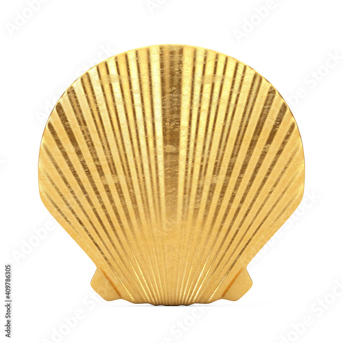 Photo Beauty Golden Scallop Sea or Ocean Shell Seashell Mock Up