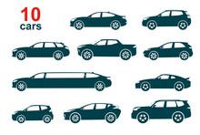 Cars Icon Set On White Background Isolated. Vector Illustration.