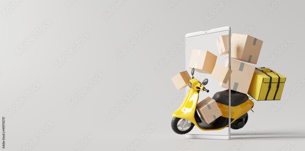 Fototapeta Delivery scooter with boxes on smartphone. Online delivery service concept. 3d rendering