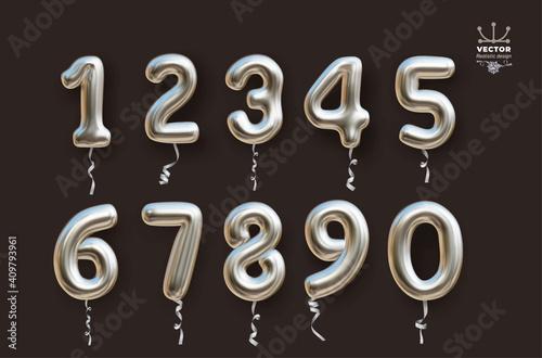 Fotografia Metallic silver number balloons 0 to 9