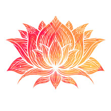 Boho Orange Watercolor Lotus With Patterns. Delicate Water Flower With Tribal Ornament. Natural Sacred Symbol For Spa And Yoga. Vector Contour Lily For Logo, Banner And Your Creativity