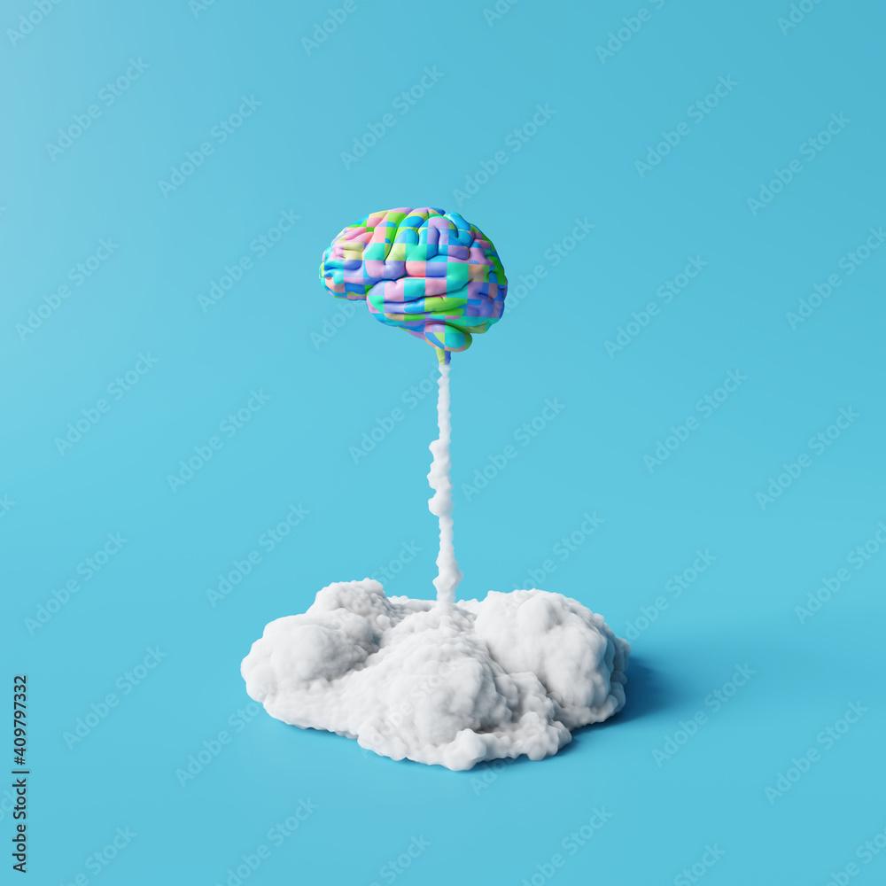 Fototapeta Creative idea, Colorful brain rocket on blue background. Minimal concept. 3d rendering