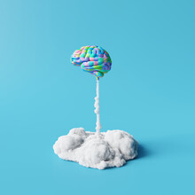 Creative Idea, Colorful Brain Rocket On Blue Background. Minimal Concept. 3d Rendering