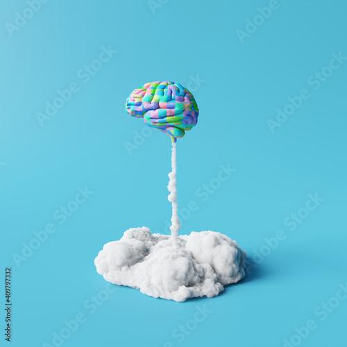Creative idea, Colorful brain rocket on blue background. Minimal concept. 3d rendering - fototapety na wymiar