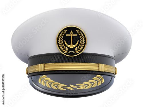 Fototapeta Front view of navy captain hat isolated on white background - 3D illustration