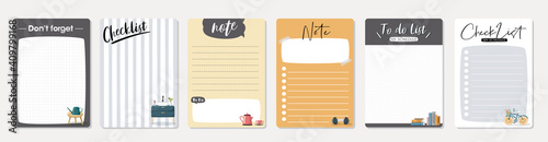 Obraz Set of planners and to do list with cute illustrations. Template for agenda, schedule, planners, checklists, notebooks, cards and other stationery. - fototapety do salonu