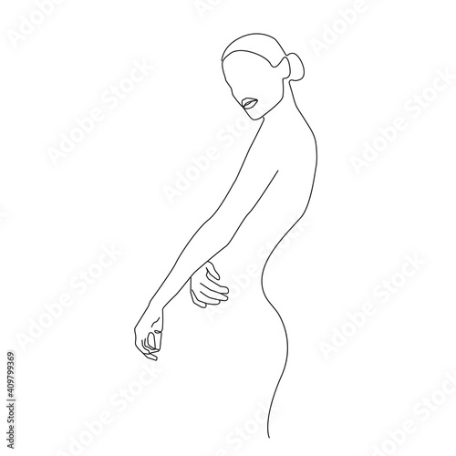 Canvas Print Woman Body One Line Drawing