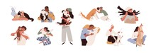 Set Of Happy Pet Owners With Dogs And Cats Isolated On White Background. Collection Of People Playing, Hugging, Cuddling With Four-legged Animal Friends. Colored Flat Vector Illustration