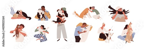 Set of happy pet owners with dogs and cats isolated on white background. Collection of people playing, hugging, cuddling with four-legged animal friends. Colored flat vector illustration © Good Studio
