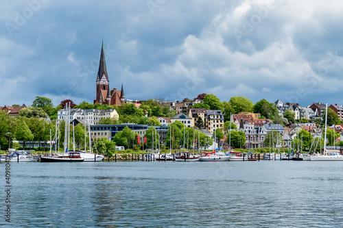 Obraz na plátně Harbour of Flensburg by the Flensburg Firth, Schleswig Holstein, Germany