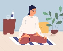 Woman Meditating And Performing Breath Control Exercises In Full Lotus Posture On Floor. Relaxed Yogi Practicing Yoga And Vipassana Meditation On Mat At Home. Colorful Flat Vector Illustration