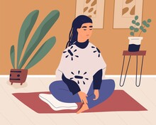 Young Woman Sitting On Mat In Silence And Meditating. Calm Relaxed Person Practicing Breath Control Exercises, Yoga And Mindfulness Meditation On Floor At Home. Colored Flat Vector Illustration