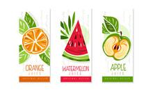 Fresh Fruit Juice Labels Set, Orange, Watermelon, Apple Juice Emblems, Packaging Design Templates Cartoon Style Vector Illustration