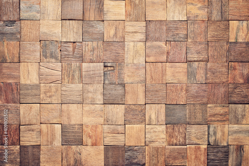 Obraz wood texture wall panel made of small planks. brown planks as background - fototapety do salonu