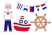 Set Of Cute Nautical Illustrations. Hand Painted Isolated Watercolor Illustrations On White Background. Nautical Flags, Sailor Man, Steering Wheel And Fishing Boat.