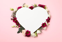 Blank Heart And Different Flowers On Pink Background, Space For Text