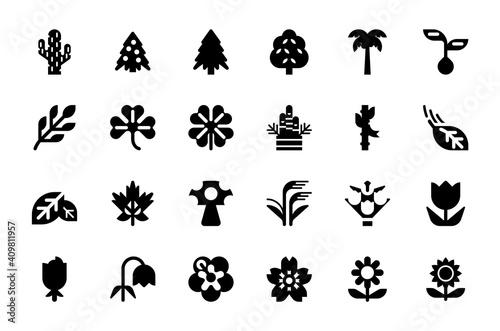 Vászonkép Plants and trees vector illustration icons set