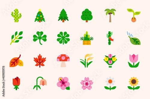 Fényképezés Plants and trees vector illustration icons set