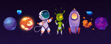 Alien Planets, Astronaut, Funny Extraterrestrial And Rocket On Background Of Outer Space. Vector Cartoon Set Of Spaceship, Cosmonaut And Green Alien Character In Cosmos