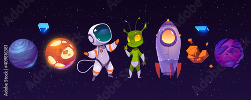 Obraz na plátně Alien planets, astronaut, funny extraterrestrial and rocket on background of outer space