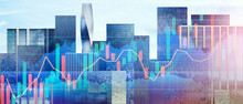 Abstract Double Exposured Forex Chart In Front Of Business District. Modern Architecture Skyline. Financial Growth Concept. Chart With Uptrend Line Graph