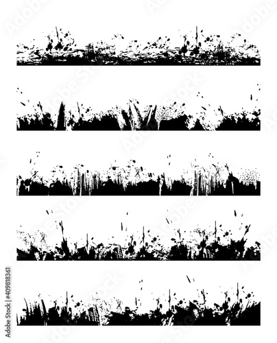 Obraz Grungy frame border with paint splatters. Ink blob, splash and spots lines, dirt or mud drops, brush stroke with dripping, smeared black paint stains vector. Divider grunge design element - fototapety do salonu